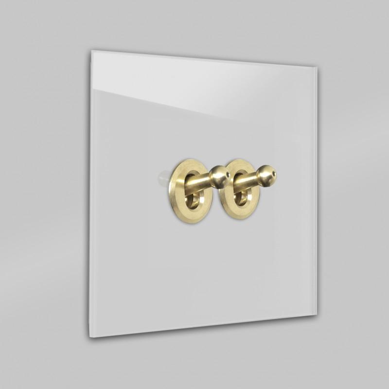 Hell-Grauer 2-fach, Serienschalter Retro-Lichtschalter mit Messing Kipphebel in der Farbe: CORNFORTH WHITE ® von Farrow & Ball Nr.: 228