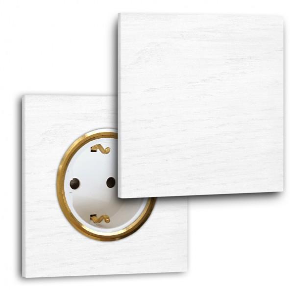 Weiße Steckdose mit Abdeckung 1-fach. Steckdosen-Rahmen Eichen-Holz lackiert in der Farbe: ALL WHITE ® von Farrow & Ball Nr.: 2005.