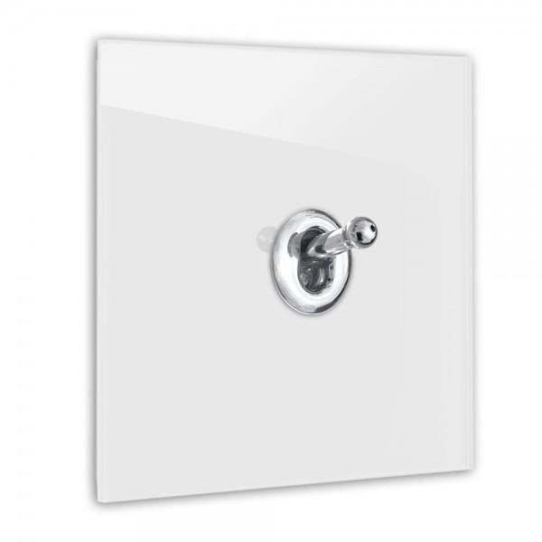 Licht-Grauer 1-fach Retro-Lichtschalter mit Chrom Kipphebel in der Farbe: AMMONITE ® von Farrow & Ball Nr.: 274