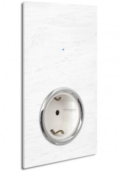 """Weiße Touch-Lichtschalter-Steckdosen-Kombination. CHROM. 230V. 1-fach in der Farbe: ALL WHITE ® von Farrow & Ball Nr.: 2005. ROHDE+ROHDE. """"NOVA Color""""."""