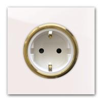Rosa 1-fach Steckdose mit Messing-Einfassung in der Farbe: CALAMINE ® von Farrow & Ball Nr.: 230