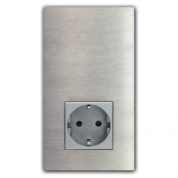 1-fach Touch-Schalter mit Steckdose. 3.WAHL. EDELSTAHL 230V. VDE-zertifiziert