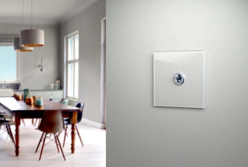 Grauer, Glas Retro-Design-Kipphebel-Lichtschalter in Farrow-Ball Farben ROHDE+ROHDE
