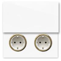 Weiße 2-fach Steckdose mit Klappe und Messing Einfassung in der Farbe: ALL WHITE ® von Farrow & Ball Nr.: 2005.