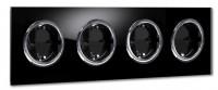 Schwarze Steckdose 4-fach mit Verchromten Zierringen. Steckdosen-Rahmen in der Farbe: PITCH BLACK ® von Farrow & Ball Nr.: 256.