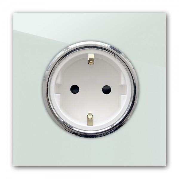 Mint farbene Steckdose 1-fach mit Verchromten Zierringen. Steckdosen-Rahmen in der Farbe: TERESA`S GREEN ® von Farrow & Ball Nr.: 236
