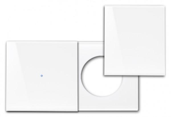 """Frontblende für Touch-Schalter-Steckdosen-Kombination mit Abdeckung. Waagerecht. """"NOVA Color"""""""