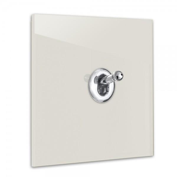 Ecu farbener 1-fach Retro-Lichtschalter mit Chrom Kipphebel in der Farbe: SKIMMING STONE ® von Farrow & Ball Nr.: 241