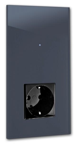 """Dunkel-Blaue Touch-Lichtschalter-Steckdosen-Kombination 230V 1-fach in der Farbe: STIFFKEY BLUE ® von Farrow & Ball Nr.: 281. ROHDE+ROHDE. """"NOVA Color""""."""