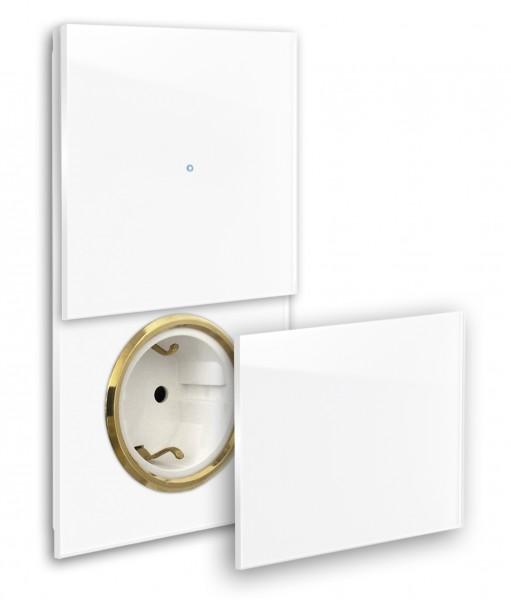 Farbige Touch-Lichtschalter-Steckdosen-Kombination 230V. Messing Steckdose mit Klappe, Abdeckung. Hochwertig, bunt farbig Farrow & Ball, modern, exklusiv Touchscreen-Schalter. ROHDE+ROHDE