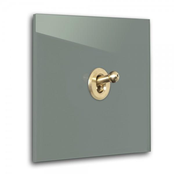 Dunkel-Grüner 1-fach Retro-Lichtschalter mit Messing Kipphebel in der Farbe: GREEB SMOKE ® von Farrow & Ball Nr.: 47